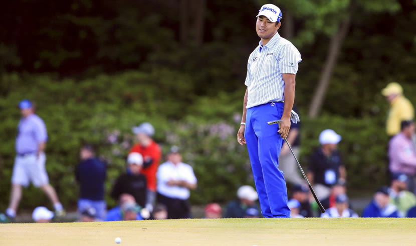 AUGUSTA, GEORGIA - APRIL 08:  Hideki Matsuyama of Japan reacts on the 17th green during the second round of the 2016 Masters Tournament at Augusta National Golf Club on April 8, 2016 in Augusta, Georgia.  (Photo by David Cannon/Getty Images)