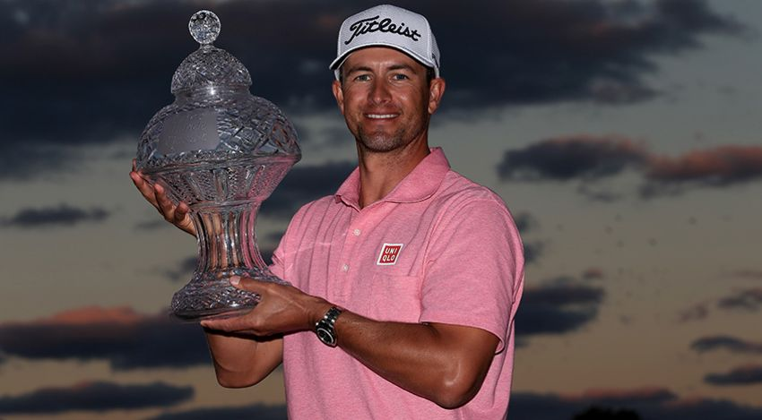 Adam Scott proudly holds The Honda Classic trophy after his one-shot victory over Sergio Garcia. (David Cannon/Getty Images)