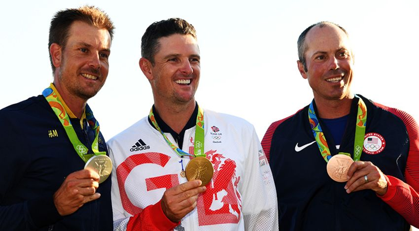 Stenson, Rose and Kuchar pose with their medals