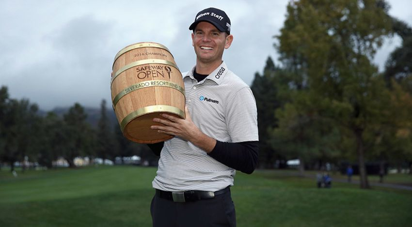 Brendan Steele with Safeway Open 'trophy'