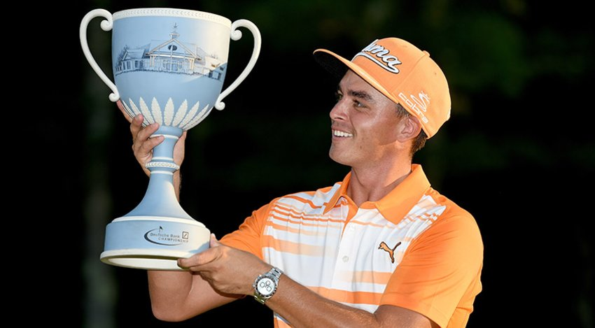 Rickie Fowler with Deutsche Bank trophy