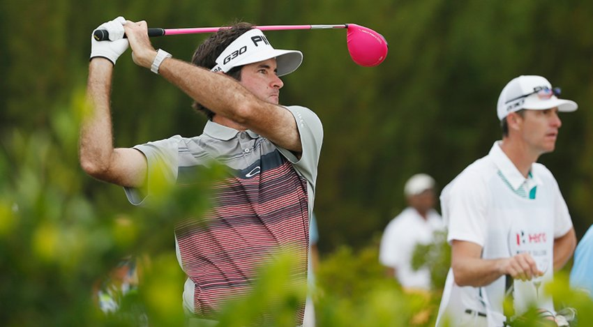 Bubba with his caddie and pink driver